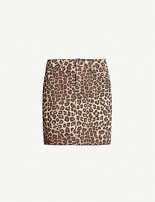 129a67641d03 GOOD AMERICAN The Mini high-waist leopard-print denim skirt