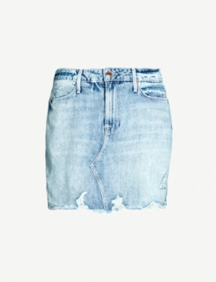 GOOD AMERICAN Fitted ripped denim mini skirt