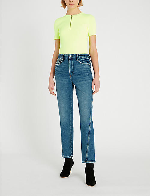 GOOD AMERICAN Good Straight twisted-seam slim-fit straight high rise jeans