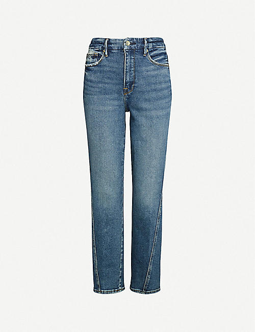 official photos 233b9 a1a6e GOOD AMERICAN Good Straight twisted-seam slim-fit straight high rise jeans