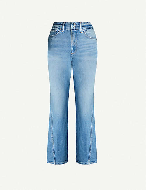 GOOD AMERICAN Good Curve cropped high-rise frayed straight jeans