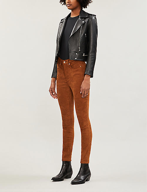 GOOD AMERICAN Good Waist faux-suede skinny jeans