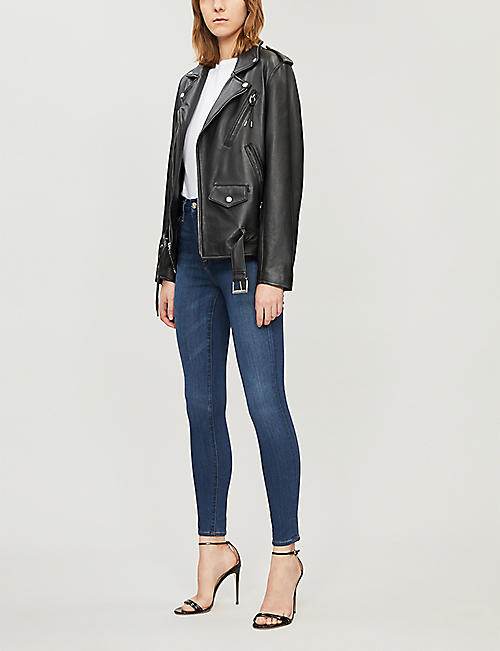 GOOD AMERICAN Good Waist cropped high-rise ripped skinny jeans