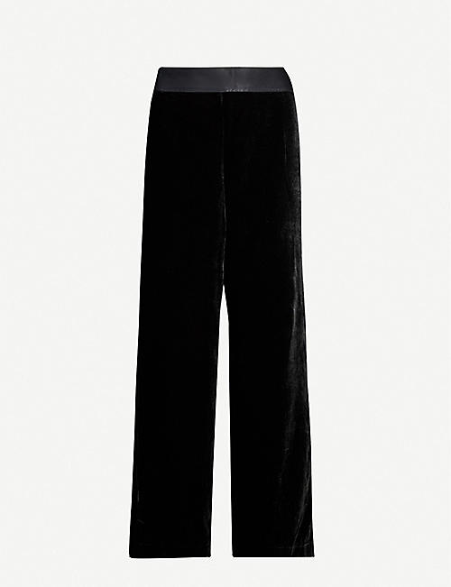 GOOD AMERICAN Elasticated-waist wide-leg high-rise velvet trousers