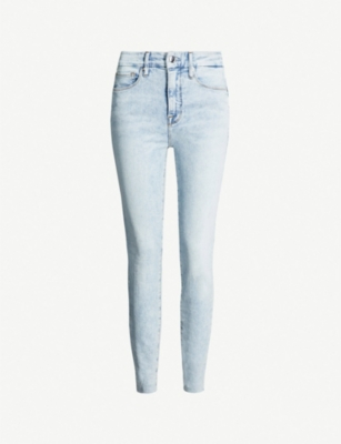GOOD AMERICAN Good Waist cropped high-rise faded skinny jeans