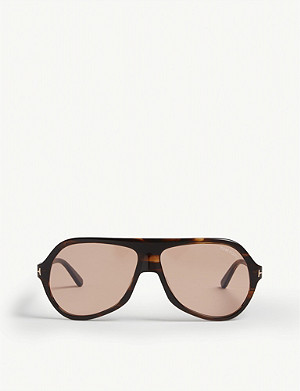 TOM FORD Thomas pilot-frame tortoiseshell sunglasses