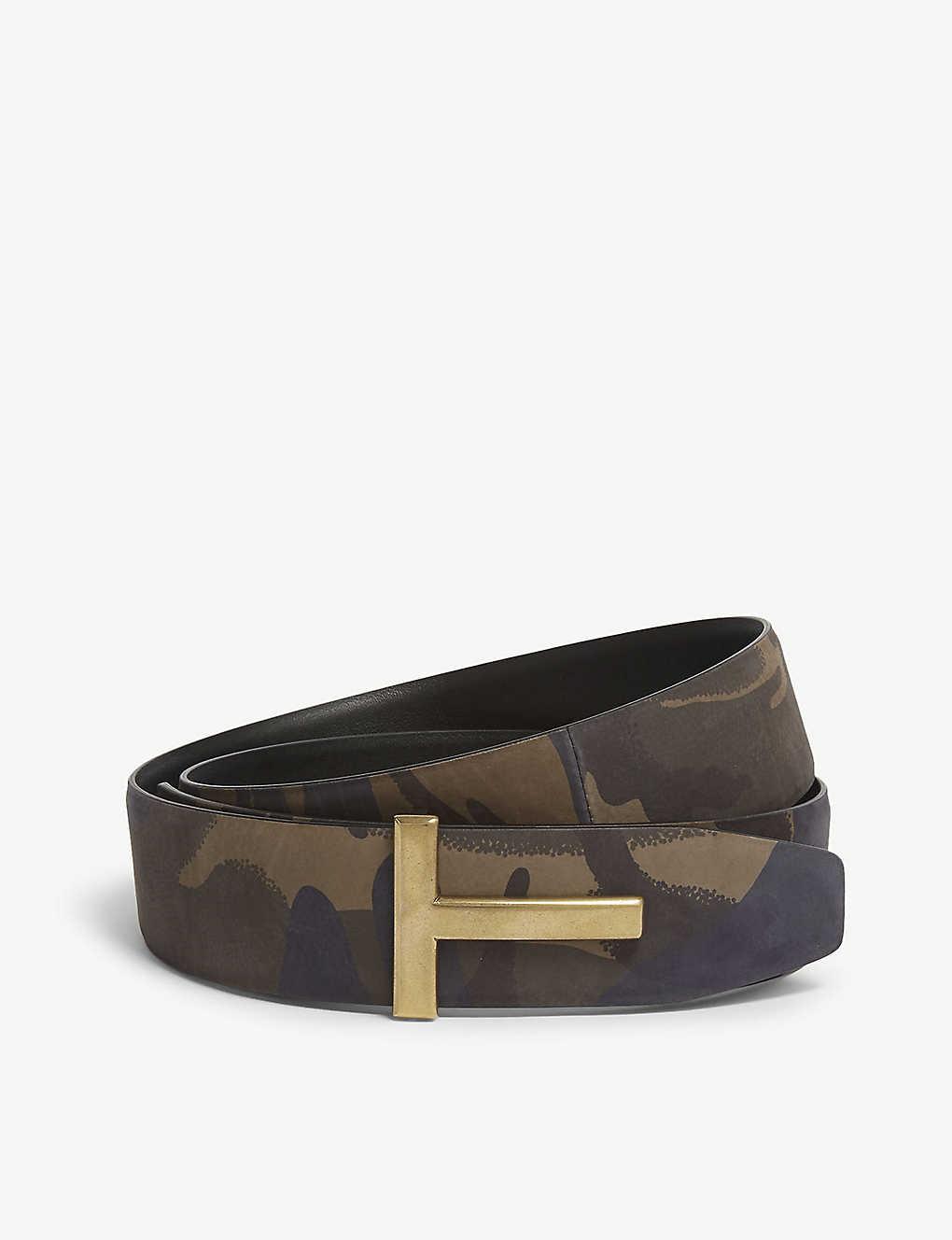 e3abf2539 TOM FORD - Camouflage leather 'T' belt | Selfridges.com