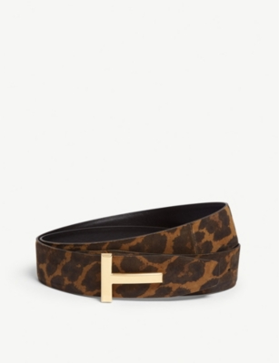 TOM FORD Icon leopard print nubuck leather belt