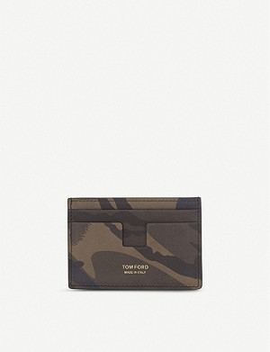 TOM FORD Camouflage nubuck card holder