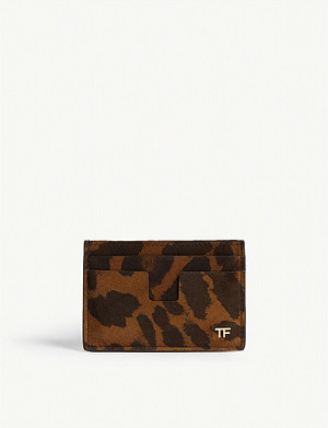 TOM FORD Leopard print leather card holder