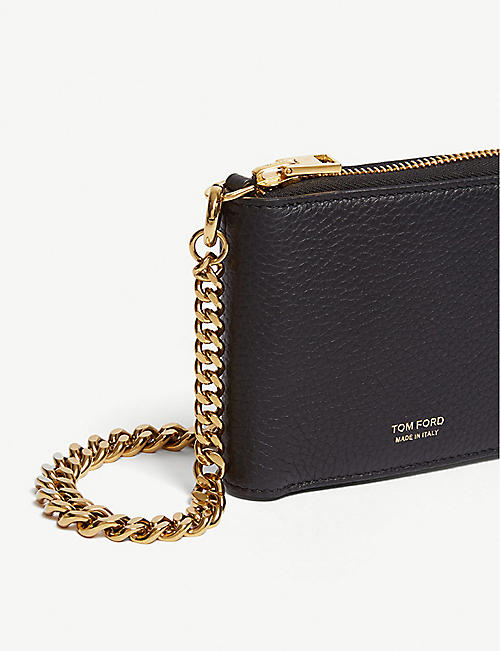 TOM FORD Small pebbled leather wallet on chain
