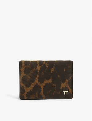 TOM FORD Leopard print folding leather card holder