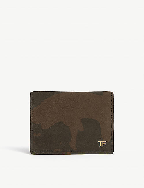 TOM FORD Camouflage suede card holder
