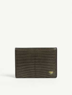 TOM FORD Reptile-effect folding leather card holder