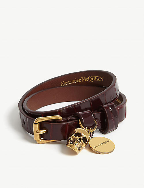 ALEXANDER MCQUEEN Croc-embossed leather double wrap bracelet