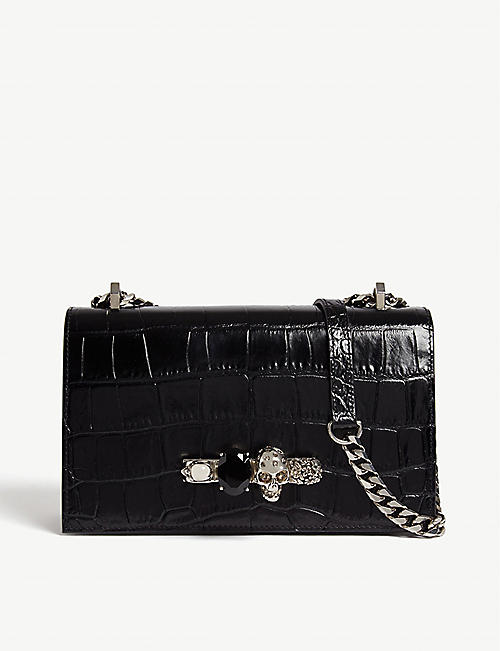 0e1d57259ede ALEXANDER MCQUEEN Croc-embossed leather knuckeduster shoulder bag