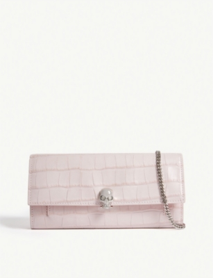 ALEXANDER MCQUEEN Croc-embossed leather wallet-on-chain