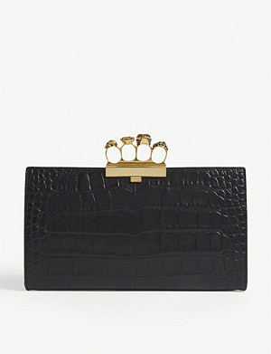 ALEXANDER MCQUEEN Knuckleduster croc-embossed leather clutch
