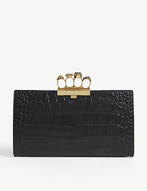4ae317c5b ALEXANDER MCQUEEN Knuckleduster croc-embossed leather clutch