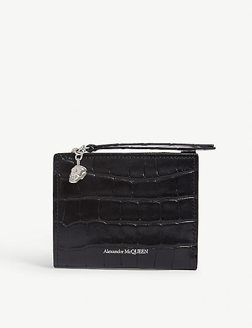 ALEXANDER MCQUEEN Croc-embossed leather mini wallet 327e22557d196