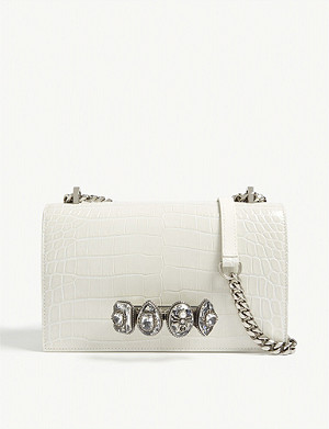 ALEXANDER MCQUEEN Spider ring croc-embossed leather clutch