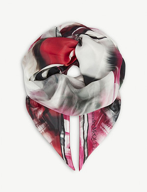 ALEXANDER MCQUEEN Warped rose and skull silk scarf