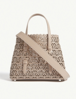 AZZEDINE ALAIA Studded laser-cut leather mini tote