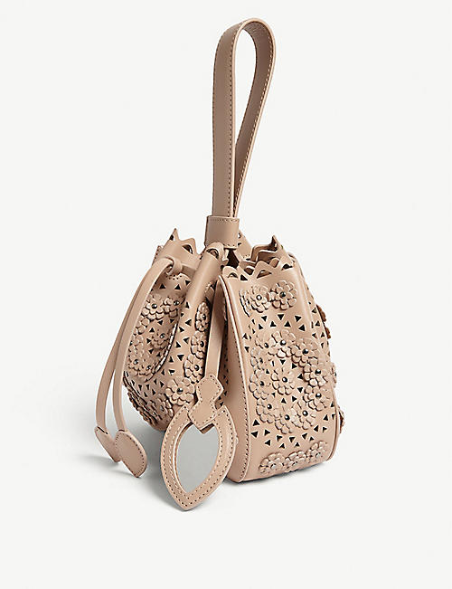 AZZEDINE ALAIA Laser-cut floral leather bucket bag