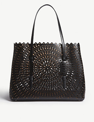 AZZEDINE ALAIA Small laser-cut leather tote