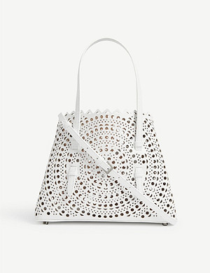 AZZEDINE ALAIA Mini laser-cut leather cross-body bag