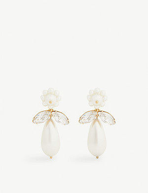 SIMONE ROCHA Crystal and pearl drop earrings
