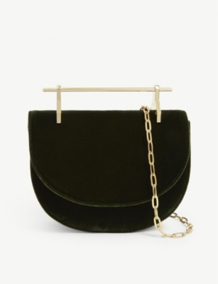 M2MALLETIER Mini Halfmoon silk velvet shoulder bag