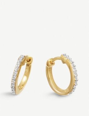 MISSOMA LTD 18ct gold vermeil pave hoop earrings