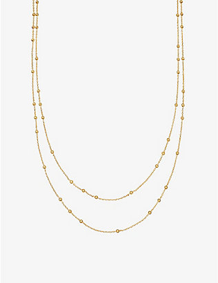 MISSOMA: Double Chain beaded 18ct gold-plated vermeil silver necklace