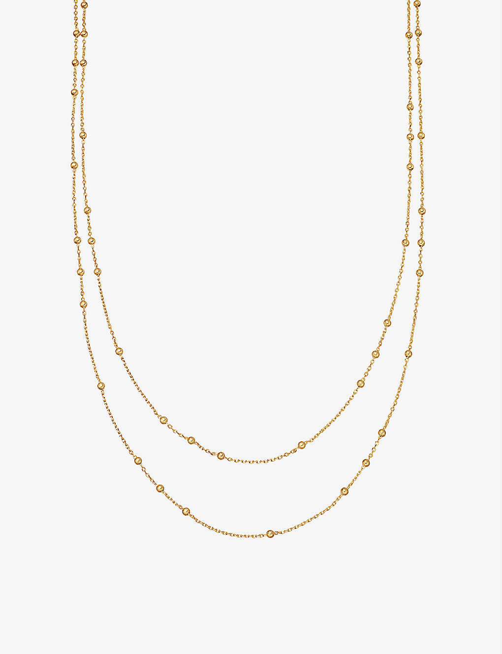 Double Chain beaded 18ct gold vermeil necklace