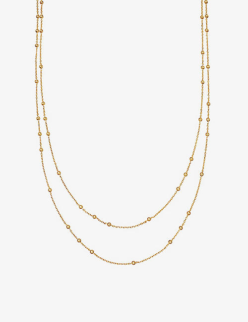 MISSOMA Double Chain beaded 18ct gold vermeil necklace
