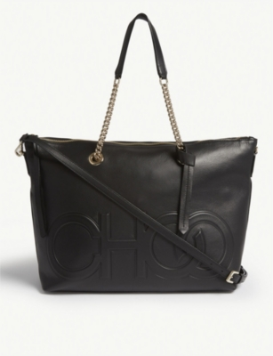 JIMMY CHOO Allegra logo-embossed leather tote