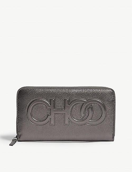6cb2b302330f JIMMY CHOO Bettina metallic leather wallet