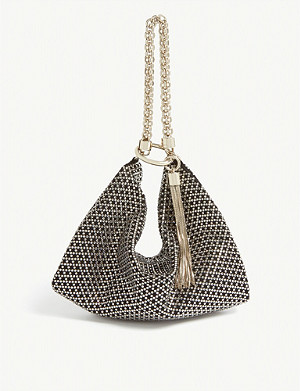 JIMMY CHOO Callie crystal and suede suede clutch bag