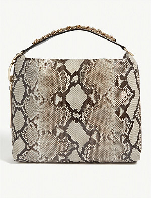 JIMMY CHOO Callie python-embossed leather shoulder bag