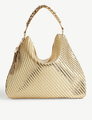 JIMMY CHOO Callie large metallic-woven shoulder bag