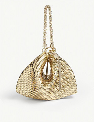 JIMMY CHOO Callie metallic leather clutch bag