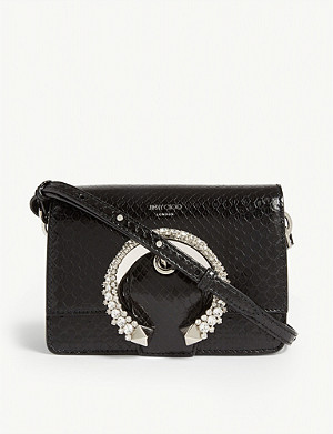 JIMMY CHOO Madeline python-embossed leather shoulder bag