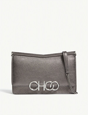 JIMMY CHOO Sidney metallic-leather cross-body bag