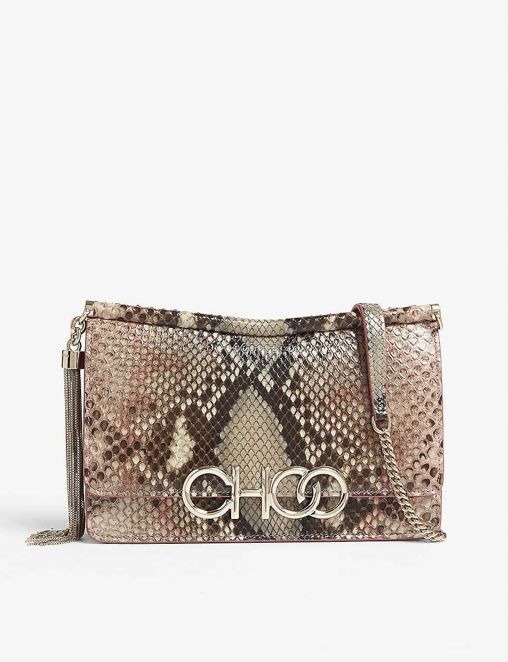 0515a7153ee JIMMY CHOO - Sidney python cross-body bag   Selfridges.com