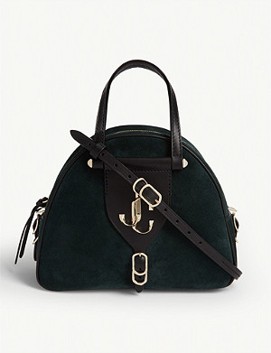 JIMMY CHOO Varenne suede and leather bowling bag