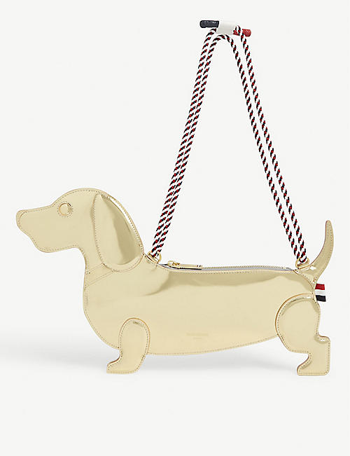 THOM BROWNE Hector metallic leather sausage dog clutch