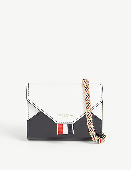 THOM BROWNE Envelope leather card case on chain