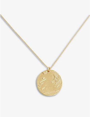 ALIGHIERI: Lion 24-carat gold-plated bronze necklace