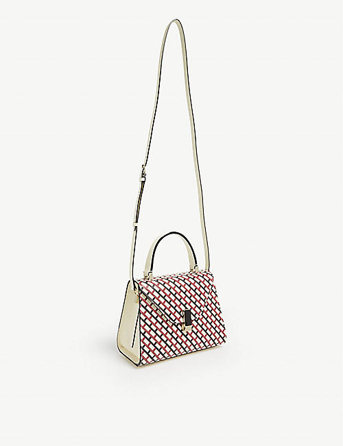 VALEXTRA Iside geometric print leather shoulder bag